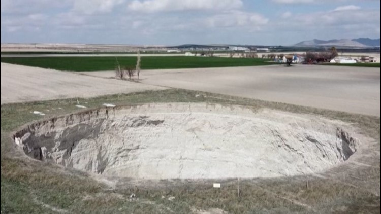 Massive sinkholes dot Turkey farmlands
