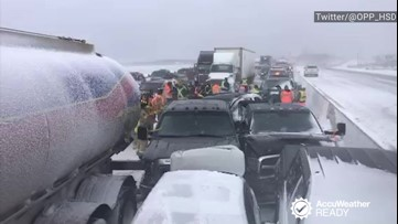 What should you do if you're caught in a multi-car pileup?