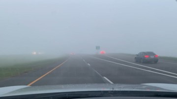 Fog obscures Texas highway, slows down morning commute