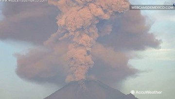 Volcano erupts sending ash and debris miles into sky