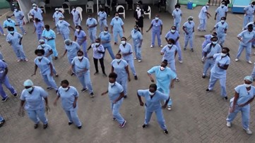 Healthcare Workers Take Up Zumba Together to Relieve Stress from COVID-19 Frontlines