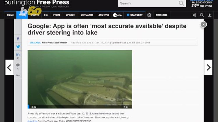 Driver ends up in Lake Champlain after using Google's Waze