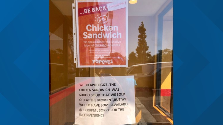 popeyes sold out