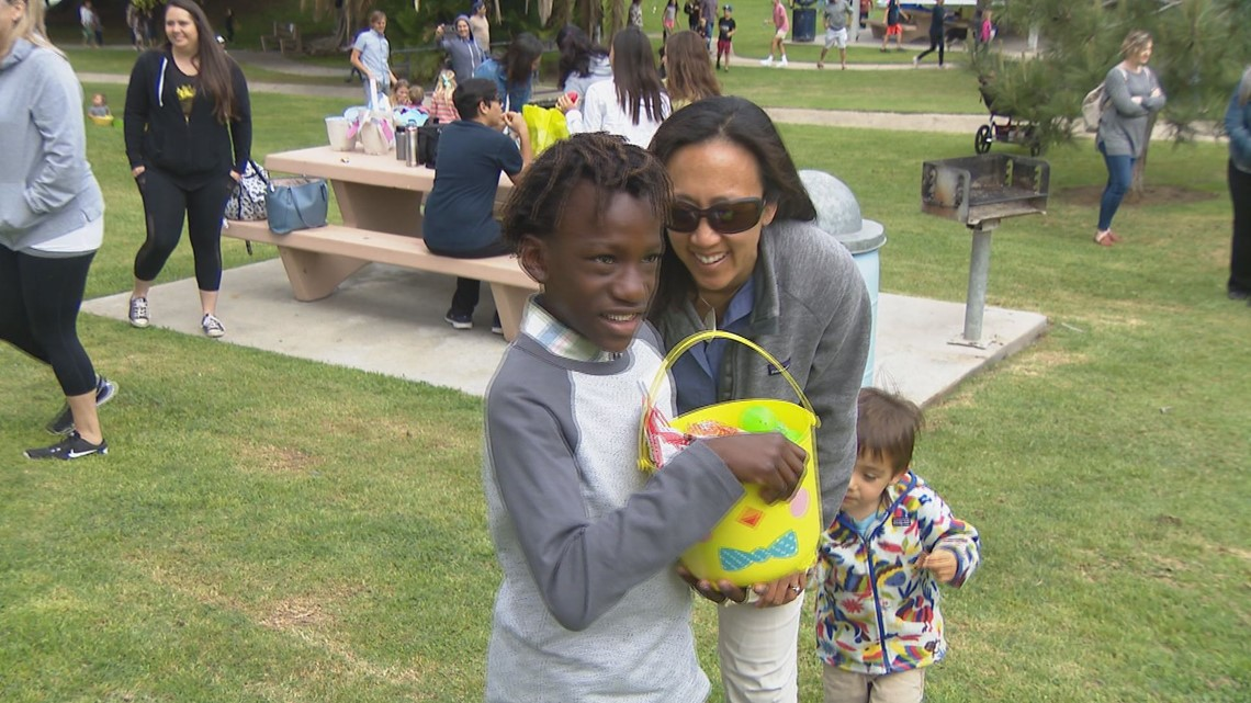 Blind and visually impaired kids take part in unique beeping Easter egg hunt