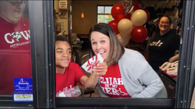 14-year-old Eljiah Sprague, who is autistic and has cerebral palsy, fulfilled his dream of working in a Chick-fil-A drive-thru on his birthday.