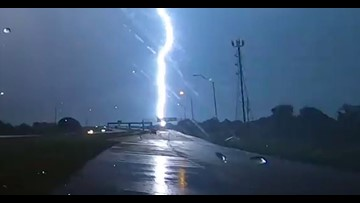 Video: 12-second lightning strike hits same spot over and over in Texas