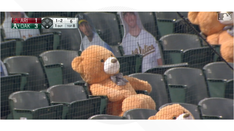 Stuffed teddy bear expected to be OK after being hit with foul ball at D-backs game
