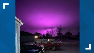 Medical marijuana farm lights create purple hazy sky over Snowflake, Arizona
