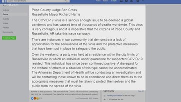 Russellville resident tests positive for COVID-19 after hosting party over the weekend