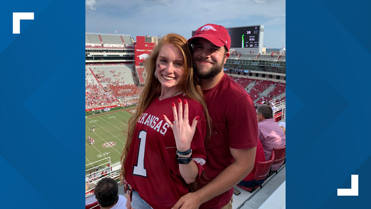 Hog Yes! Razorbacks fans get engaged after 1st touchdown of the season