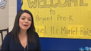 Meteorologist Mariel Ruiz talks to Bryant Pre-K students about weather safety