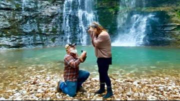 Missouri couple uses Arkansas waterfall as engagement backdrop