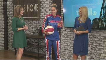 Hoops from the Harlem Globetrotters one-on-one with a spelling bee champ