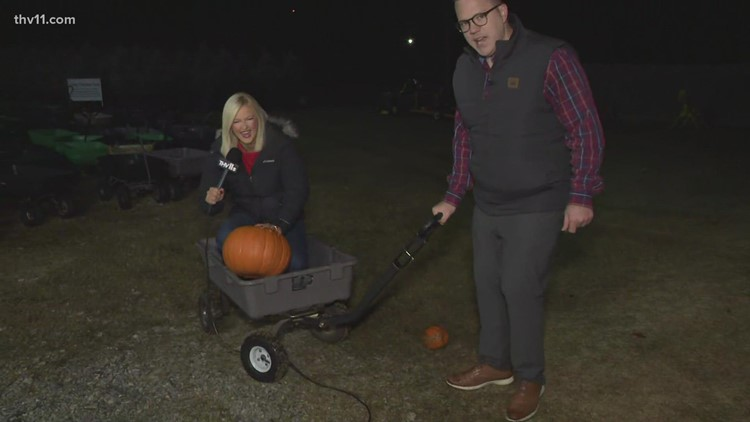 Amanda Jaeger goes for a ride in the pumpkin wagon at Motley's