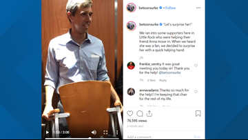 Beto O'Rourke surprises fan with a 'quick helping hand' while visiting Little Rock