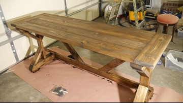 Rob the Builder handcrafts a $60 table in his garage, found project on Pinterest