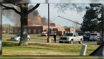 Russellville Fire Department controls flames at Williamson Hall on Arkansas Tech campus