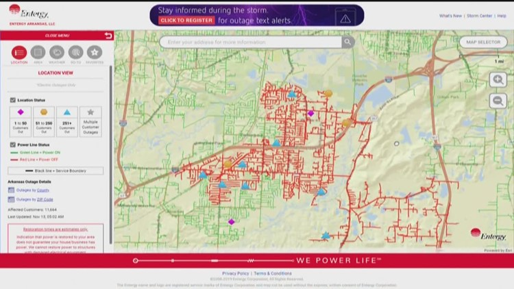 Thousands without power in Little Rock