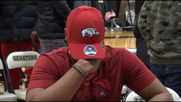 Future Razorback gets emotional during National Signing Day