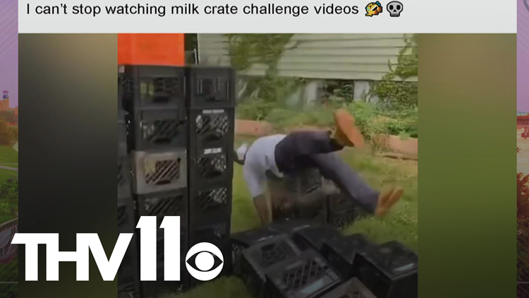 The milk crate challenge is a confusing social media trend