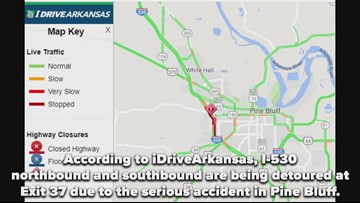 Serious accident causes detour at Exit 37 in Pine Bluff