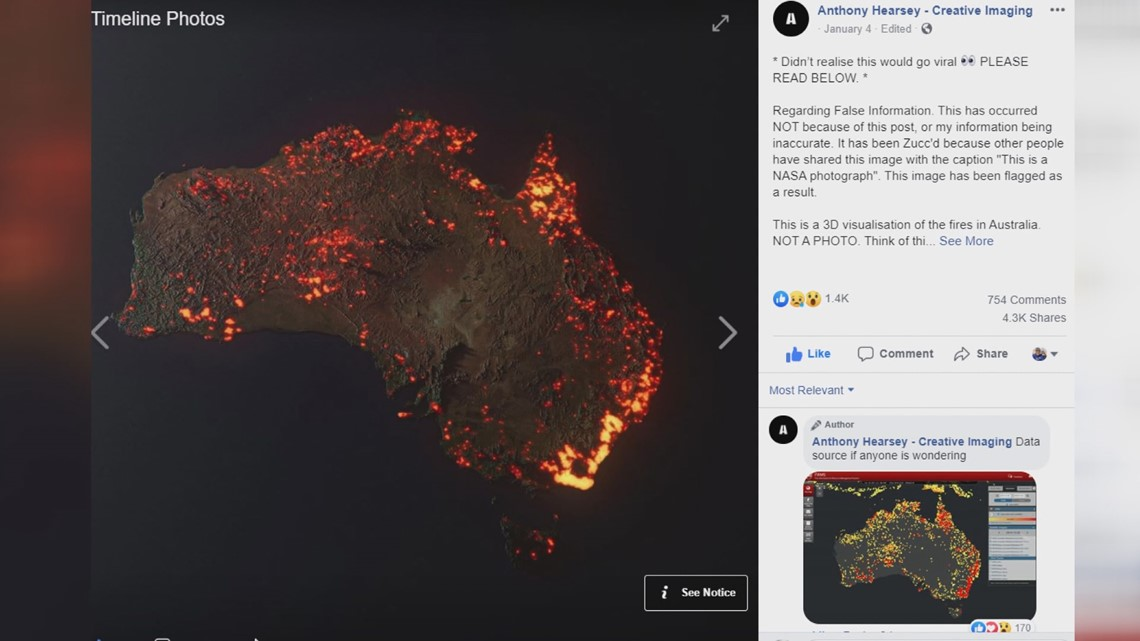 VERIFY: Satellite images circulating on social media of Australian wildfires may not be real