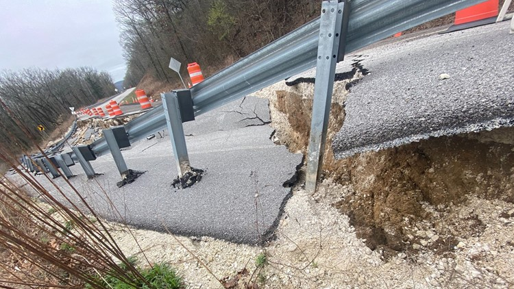 Road collapses in northwest Arkansas due to heavy rainfall