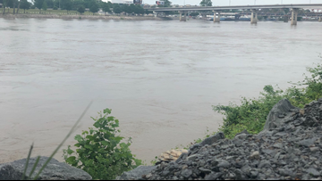 Arkansas River in high flow condition, unsafe due to rainfall