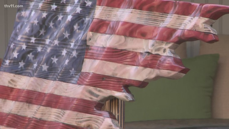 Wooden flags made by Arkansas Veteran