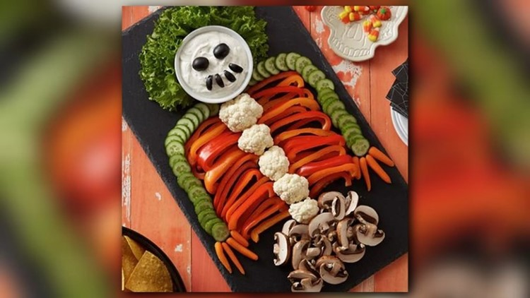 Have some healthy fun this Halloween with this Skeleton Vegetable Board