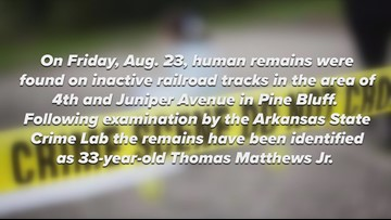 Human remains found on inactive railroad tracks in Pine Bluff identified