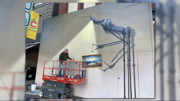 The artwork is part of the InspiredLR mural project, an initiative of Downtown Little Rock Partnership's Public Spaces committee.  Mac Murphy of the M2 Gallery is curating the project, which will span multiple artists and multiple locations on Main Street.