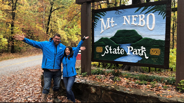 Walking through a cloud of beautiful fall foliage, sunsets at Mount Nebo State Park
