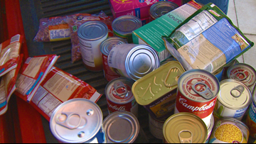 """Cabot Southside Elementary K Kids count and collect 1,800 cans and boxes to """"Feed the Vets"""""""