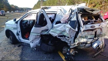 Highway police officer sustains non life-threatening injuries after accident in Hot Spring County