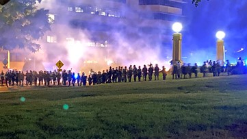 Police use tear gas against protesters in Little Rock for 2nd night