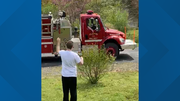 Watch: 20-year-old with autism gets social distancing happy birthday from Arkansas fire dept.