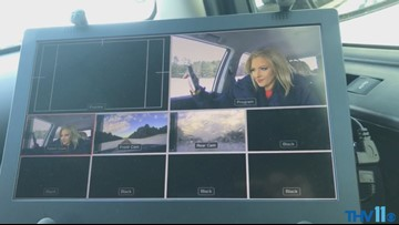 Amanda Jaeger shows snow conditions around Pine Bluff