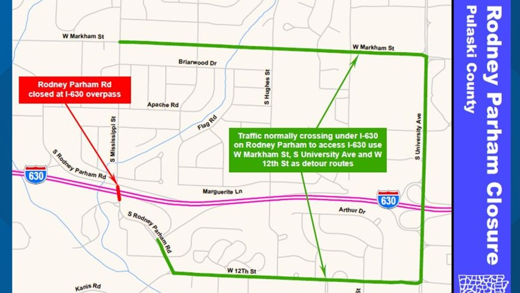 Rodney Parham Road to close this weekend due to construction
