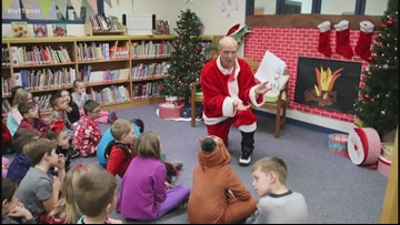 The Reading Roadtrip produces a Santa lookalike at Magness Creek Elementary