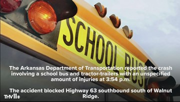 Injuries reported in school bus accident involving tractor-trailers