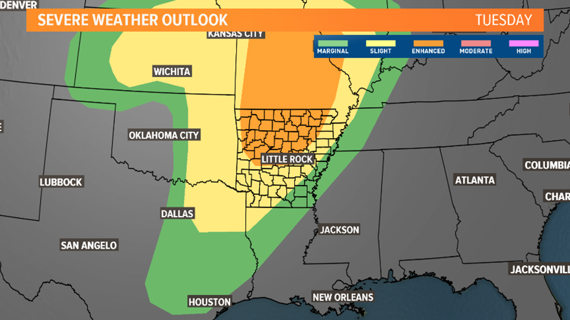 Tuesday brings cold front, strong storms to Arkansas