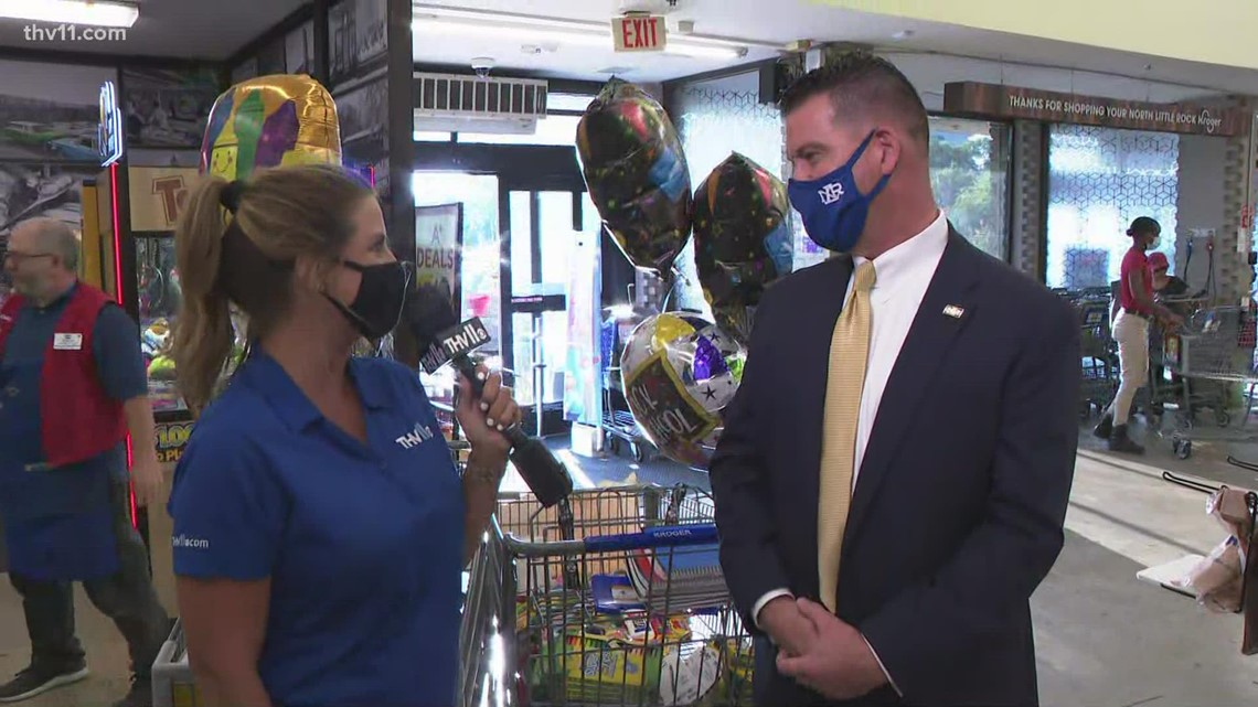 Community members donate school supplies to help stock classrooms in the North Little Rock School District