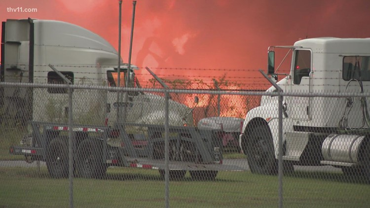 Little Rock recycling center 'fully engulfed' after Tuesday fire