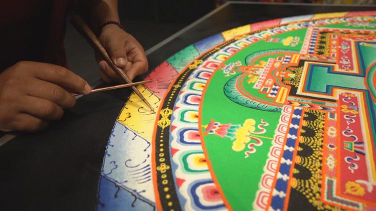 Tibetan Monks Create Sand Painting at Lyon College