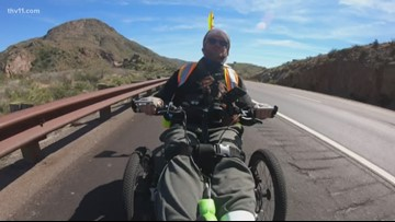 Man with paralysis riding wheelchair 3K miles