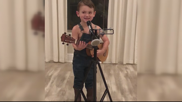 3-year-old Louisiana boy rocks Luke Combs song in adorable video with his overalls, guitar
