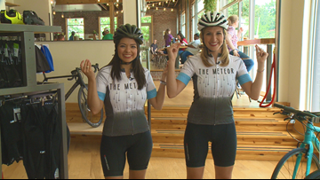 Laura & Mariel gear up for the Big Dam Bridge 100 at the Meteor bike shop