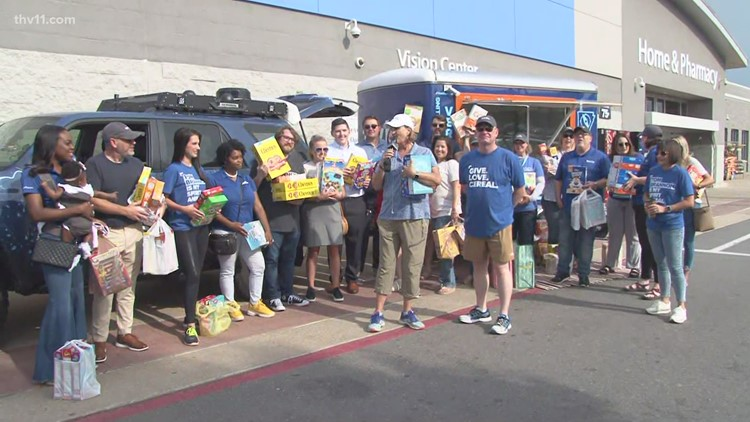 THV11 staff surprises Tom Brannon at the Summer Cereal Drive