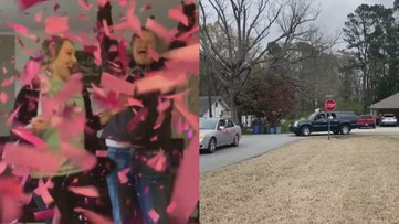 Sheridan couple's surprise drive-thru gender reveal party goes viral